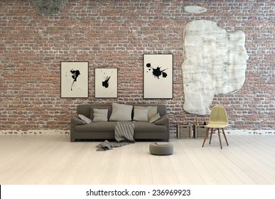 Generic grey sofa with comfortable cushions and footstool against a brick wall with abstract artwork in a large light room with white painted wooden floorboards. 3D Rendering.