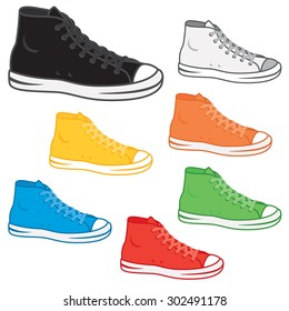 Generic high top sneakers in a variety of basic colors.