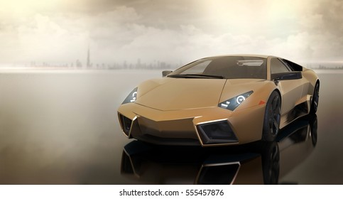 Generic Luxury sports car in front of modern city (with overlay) - 3d illustration