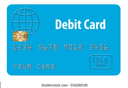 Generic mock debit card isolated on white background.