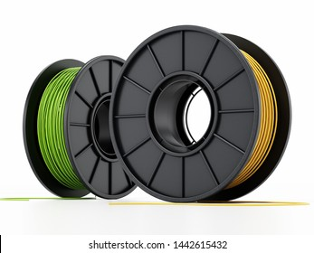Generic new spools of 3D filaments isolated on white background. 3D illustration.