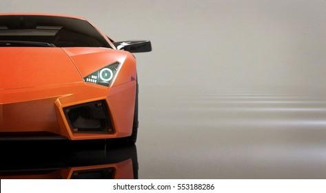 Generic orange modern sports car headlights (with grunge overlay) - 3d illustration