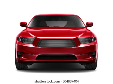 Generic red car - front view (3D render)