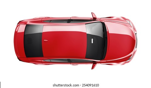 generic red car on white background