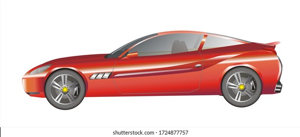 Generic red sport car with white background