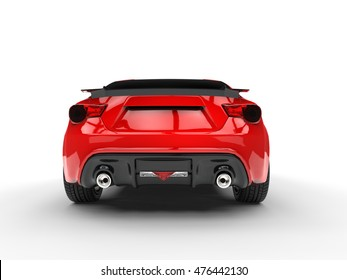 Generic red sports car - back view - 3D Render