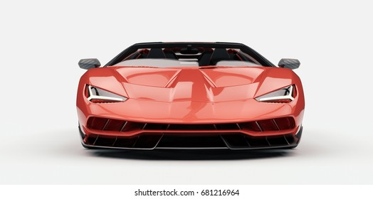 Generic red sports car (with overlay), brandless, front view - 3d illustration