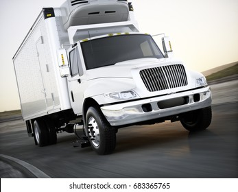 Generic refrigerated cargo truck hauling goods down the road with motion blur. 3d rendering