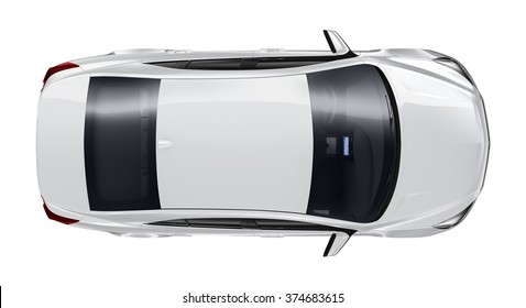 Generic silver car - top angle
