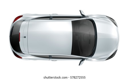 Generic silver compact car - top view(3D render)