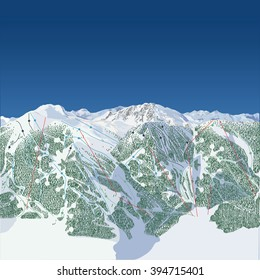 Generic Ski Hill, west coast style with mostly all coniferous trees and jagged peaks.