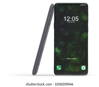 Generic smartphone isolated on white. 3D rendering