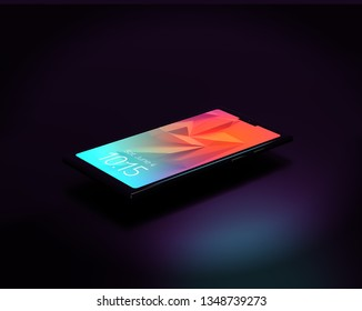 Generic smartphone on a black background, 3d render / rendering