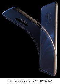 Generic smartphone with transparent case isolated on black. 3D rendering