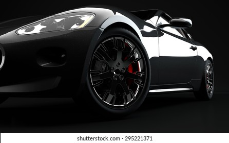 A generic sport elegant black car on a black background