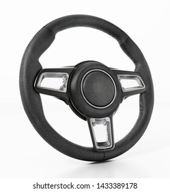 Generic steering wheel isolated on white background. 3D illustration.