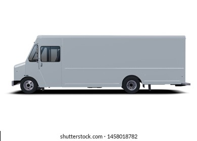 Generic step van isolated model on white background.