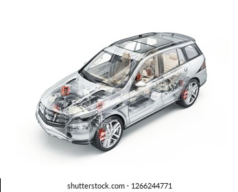 Generic Suv car detailed cutaway 3D realistic rendering. With all main details in ghost effect. On white bacground.