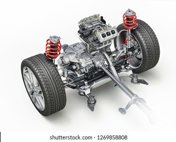 Generic SUV Car Under carriage technical 3 D rendering. Front part with engine, gear box, suspensions, brakes and wheels. On white background.