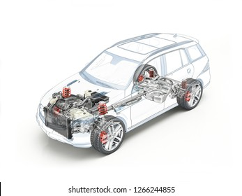 Generic Suv cutaway blue print technical drawing showing realistic engine and undercarriage in ghost effect. On white background.