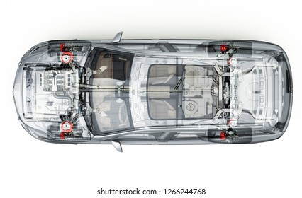 Generic Suv detailed cutaway representation, view from top. With ghost effect. Isolated On white background.