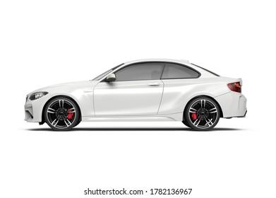 Generic unbranded white luxury city car, 3D illustration