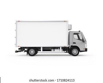 Generic urban delivery refrigerator box truck with grey cabin, right side view, photorealistic 3D Illustration, isolated on the white background.
