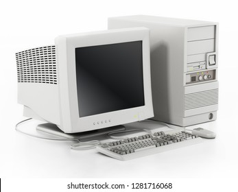 Generic vintage 90's style computer isolated on white background. 3D illustration.