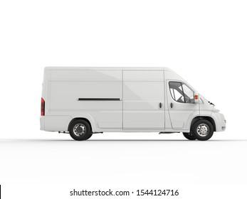 Generic white van - side view - 3D Illustration