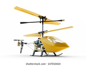 Generic yellow remote controlled helicopter isolated on white background