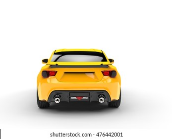 Generic yellow sports car  - back view - 3D Illustration