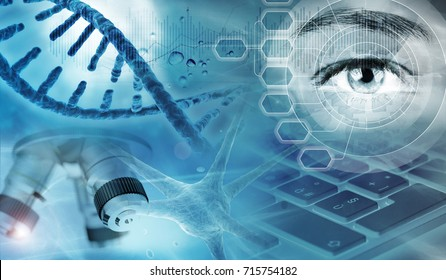 genetic analysis concept blue background, 3d illustration