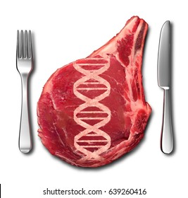 Genetically modified meat concept and GMO symbol as a steak with a DNA strand shaped in the flesh as a genetic engineering metaphor for food science with 3D illustration elements.