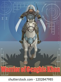Genghis Khan warrior riding a horse in the hands of two swords and sent to the goal, in the hologram of time, his shadow eagle is the willpower of the spirit in the achieved victory!