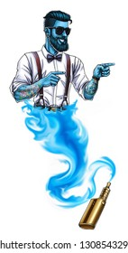 Genie illustration. Isolated. Jinn hipster. White backgroung