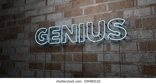 GENIUS - Glowing Neon Sign on stonework wall - 3D rendered royalty free stock illustration.  Can be used for online banner ads and direct mailers.