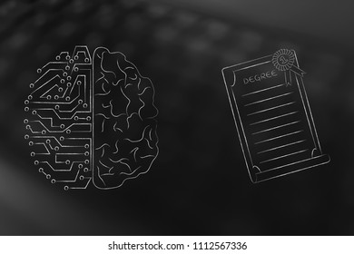 genius mind conceptual illustration: half digital half human brain next to degree diploma with ribbon