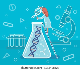Genome sequencing, DNA, DNA research, scientist in the laboratory, medicine, illustration.