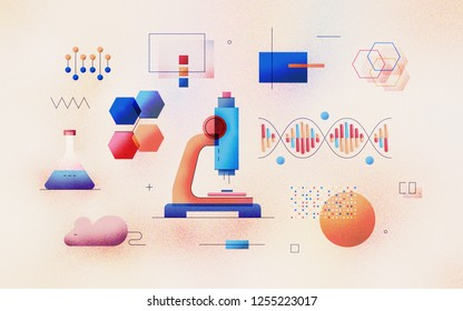 Genomic analysis of DNA sequence in laboratory. Bioinformatics research for biological information. Data science technology development. Modern flat design illustration concept on textured background.