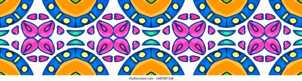Gentle Old Talavera Arabesque. Ink Green color Arabesque. Aztec Meditiation Arabesque. Seamless Japanese Flower. Violaceous and Ketchup color.