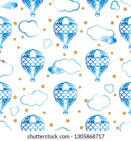 Gentle seamless pattern with balloons, clouds and stars. Watercolor illustration. Great print for kids clothes, bed linen, dishes, fabrics and other surfaces.