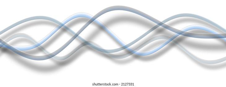 Gentle simple blue waves transparent design element.