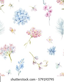 gentle watercolor floral pattern, hydrangea flowers, feather, white background