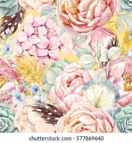 gentle watercolor floral pattern. peony flowers. succulents.  hydrangea and feathers of birds. gold. boho style. retro colors