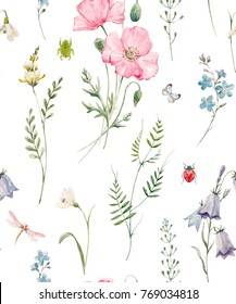 Gentle watercolor floral pattern, pink poppy, flower bell, green plants and leaves, butterflies, dragonflies and beetles. Delicate spring wildflowers