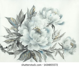 gentle white peony on a light background