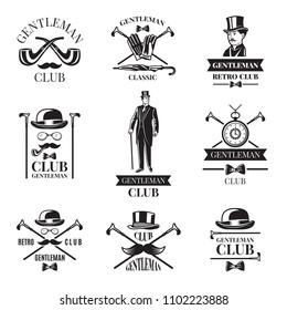Gentleman club. badges set. Gentleman emblem and label collection illustration