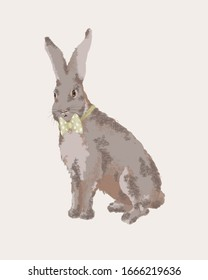 Gentleman rabbit wearing a green bow tie. Realistic drawing of an elegant rabbit that wears a bowtie.