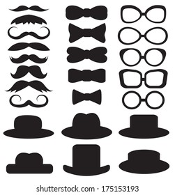 gentleman's set consists of a hat, glasses, mustache and bow ties