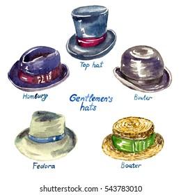 Gentlemen's hats types: Top hat, Homburg, Fedora, Boater, Bowler,  hand painted watercolor illustration